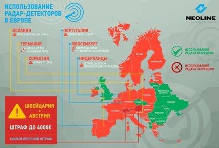 Стала доступна карта Европы сзапретом нарадар-детекторы